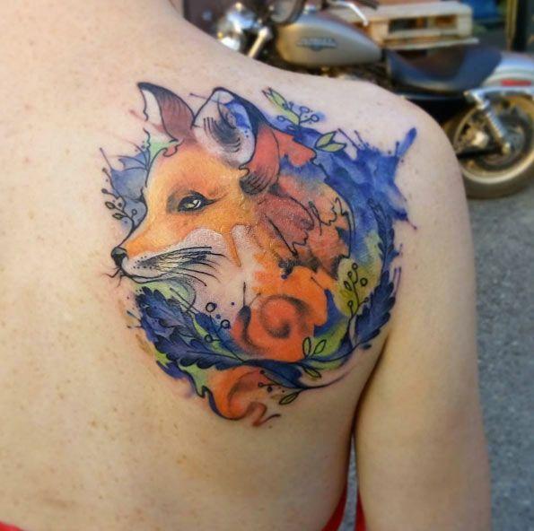 Tatouage Renard Aquarelle Tatoo Fox Watercolor Tatouage