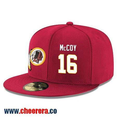 Washington Redskins #16 Colt McCoy Snapback Cap NFL Player Red with White Number Hat