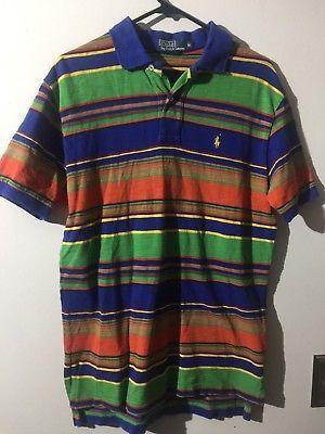abf4ae617 Vintage Polo Ralph Lauren Multi Color Block Large Shirt Vtg 90s Colorful  Stripes
