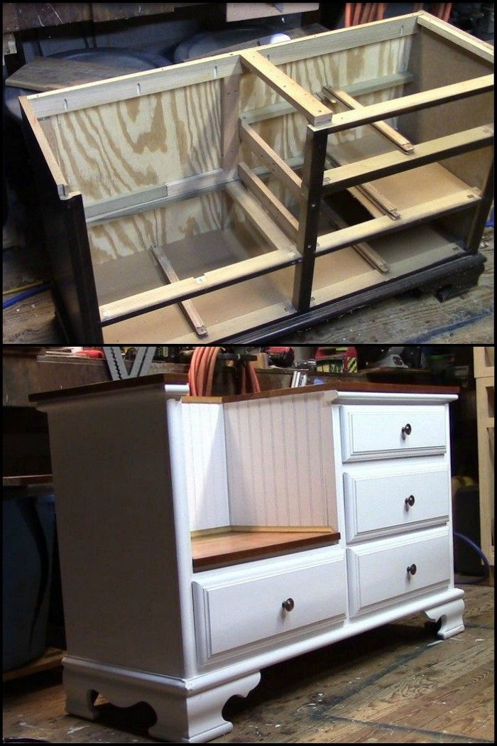 How to turn an old dresser into a seating furniture – Jan Olson  – Dress