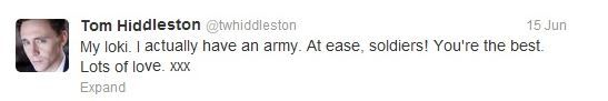 tom about his army of fans   3 kisses says wife not girlfriend #sherlock yay   i love thomas william hiddleston