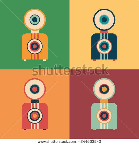 Colorful set of retro cameras. #retro #retroicons #flaticons #vectoricons #flatdesign