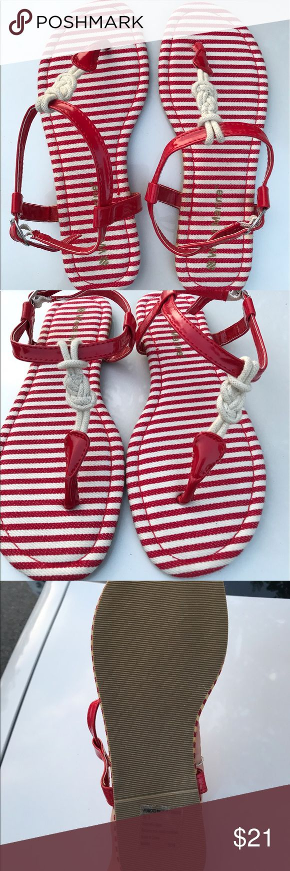 "West Marine Stripe Red/White Sandals sz 8 West Marine ""naughty"" sandal. red and white stripe. Size 8. Never worn. West Marine Shoes Sandals"