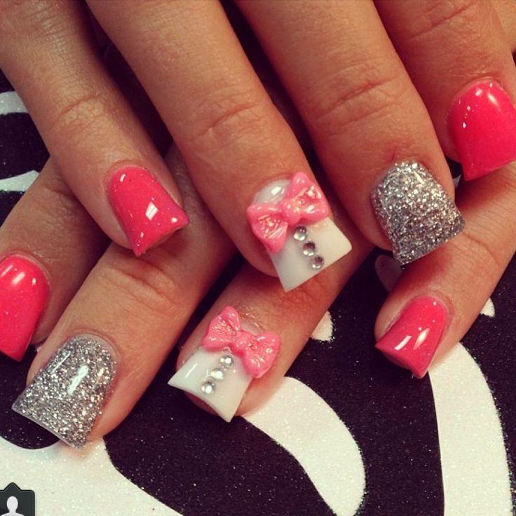 Pink acrylic nail art #3dnails