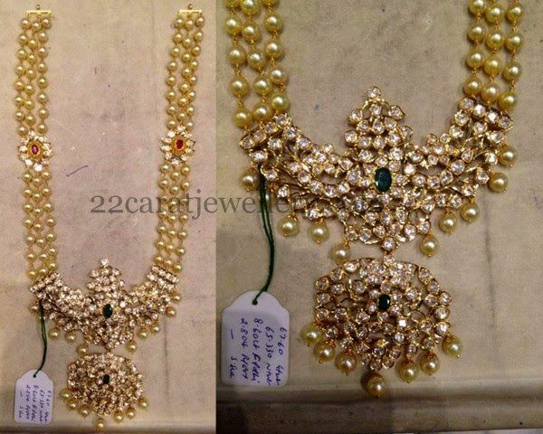 Jewellery Designs: Three Layerd Pearls Haram
