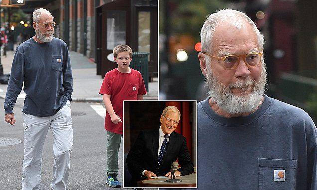 David Letterman sports Santa beard on walk with his son