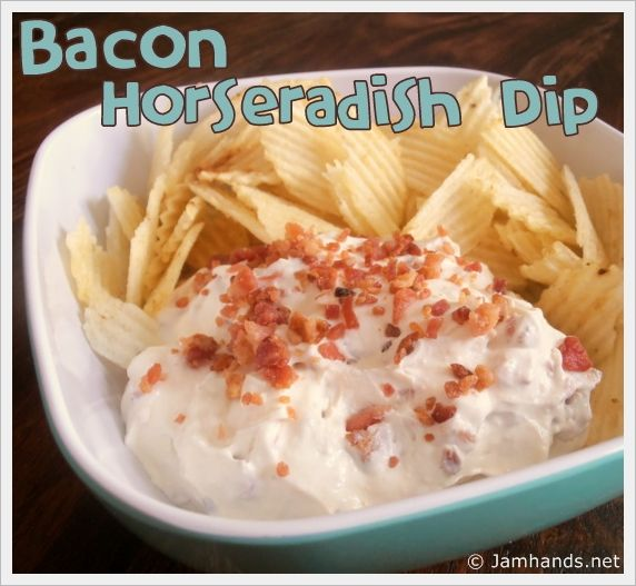 Bacon Horseradish Chip Dip - I would, of course, replace the sour cream with yogurt, as I can't stomach S.C.; but otherwise looks awesome!