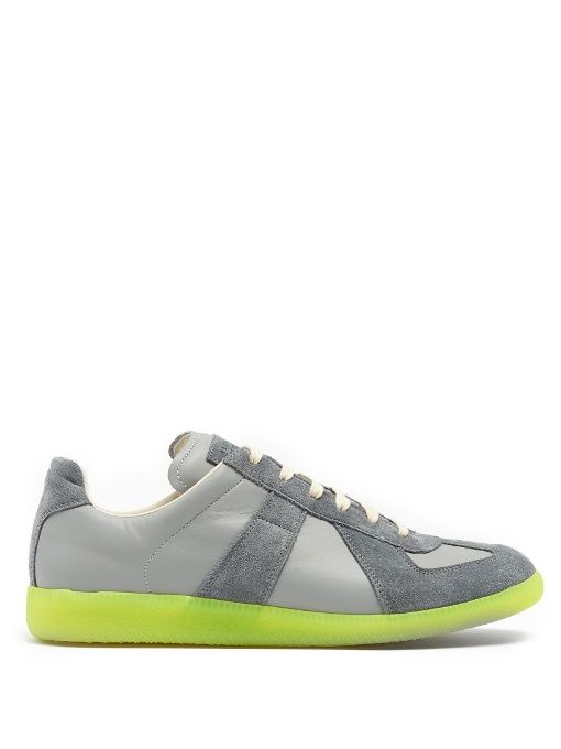 MAISON MARTIN MARGIELA Replica Low-Top Leather And Suede Trainers. #maisonmartinmargiela #shoes #sneakers