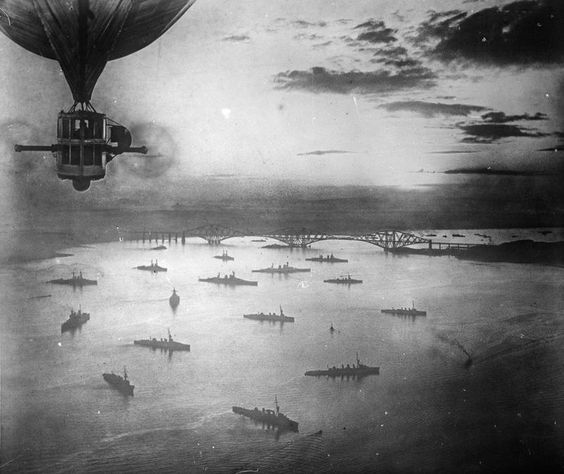 An aerial view of a portion of the Grand Fleet at anchor in the Firth of Forth, taken from the British Airship R. 9. during World War 1.  www.airshipcenter.com