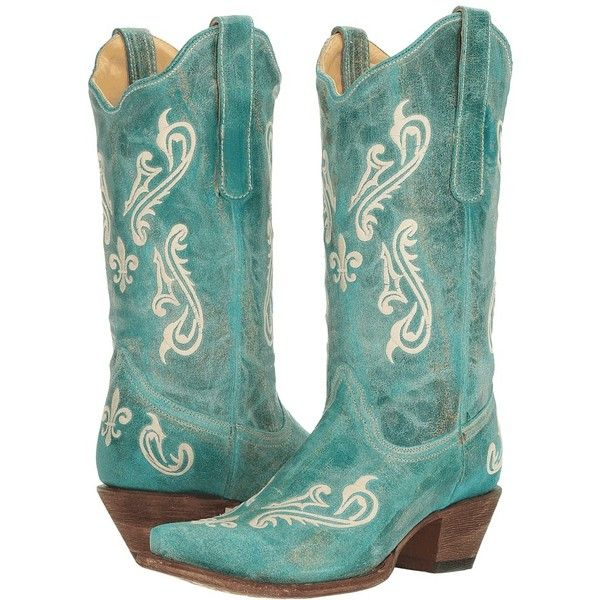 Corral Boots R1973 (Turquoise) Women's Boots ($180) ❤ liked on Polyvore featuring shoes, boots, mid-calf boots, distressed cowgirl boots, cowboy boots, turquoise boots and cowgirl boots