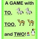 """""""TO, TOO, AND TWO!"""" - LEARN ABOUT HOMOPHONES WITH A GAME, CRAFT, AND SONG!  Learning about correct usage for TO, TOO, and TWO?  Lose the worksheets and get active!  Make a simple Animal Craft (templates provided). Then play a funny Group Game about a visit TO the zoo, but TWO of each animal would be just TOO crowded in the traveling truck!  Song Notes and WORD CARDS are provided.  (10 pages)  Multi-Sensory Language Arts with Joyful Noises Express TpT!  $"""