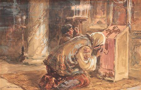 În fața altarului