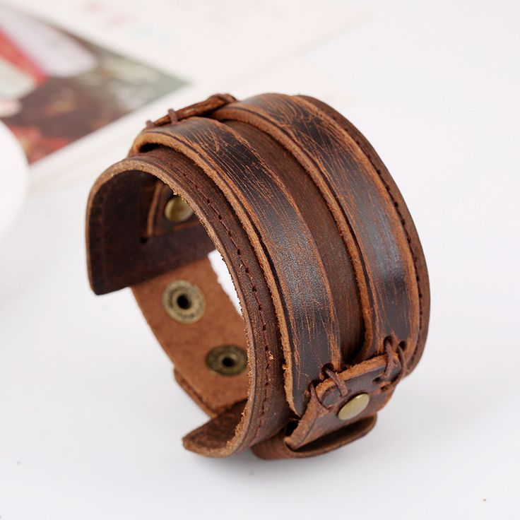 Fashion Wide Strap Leather Bracelet