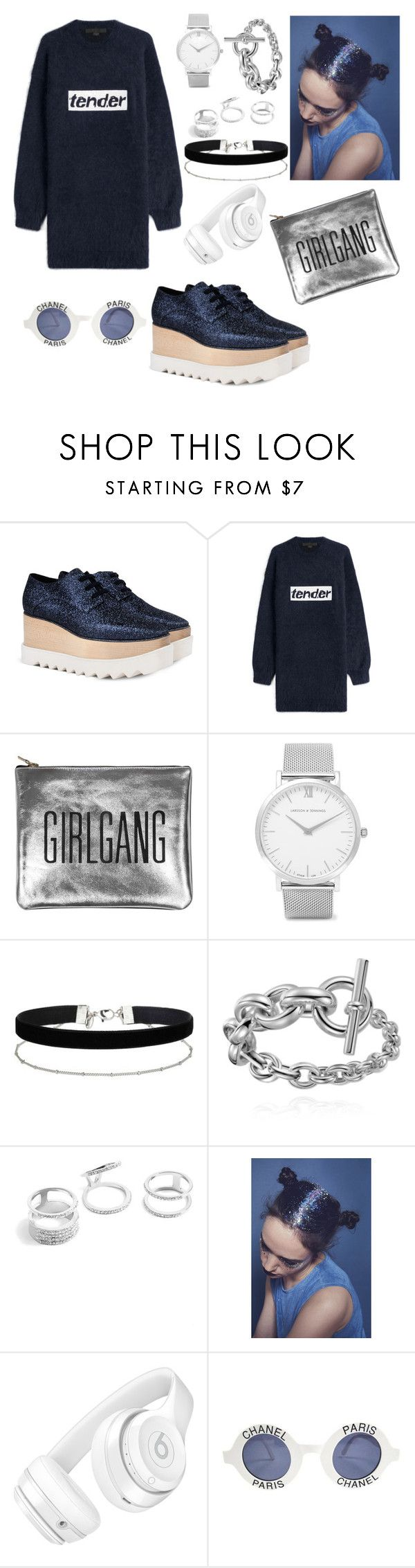 """""""🖤"""" by lwchiz ❤ liked on Polyvore featuring STELLA McCARTNEY, Alexander Wang, Sarah Baily, Larsson & Jennings, Miss Selfridge, GUESS, Beats by Dr. Dre and Chanel"""