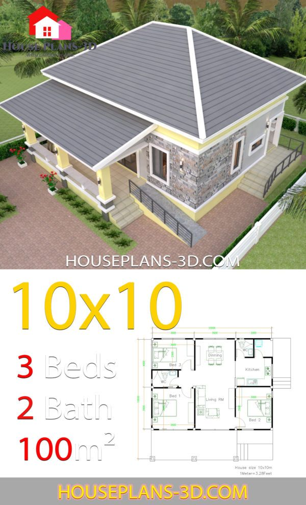 House Design 10x10 With 3 Bedrooms Hip Roof House Plans 3d Affordable House Plans House Plans House Roof