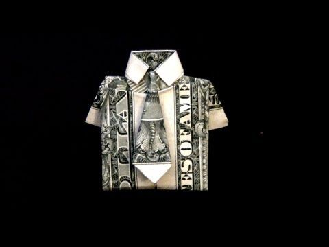 Dollar Origami Shirt & Tie How to fold a dollar bill in to a shirt and tie