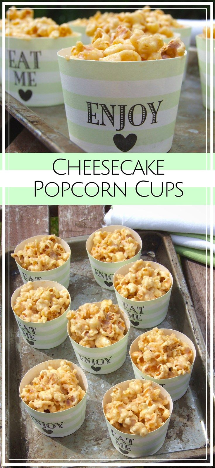 Sweet, creamy cheesecake - in popcorn form! These little cups of deliciousness are a perfect snack for both kids and adults.