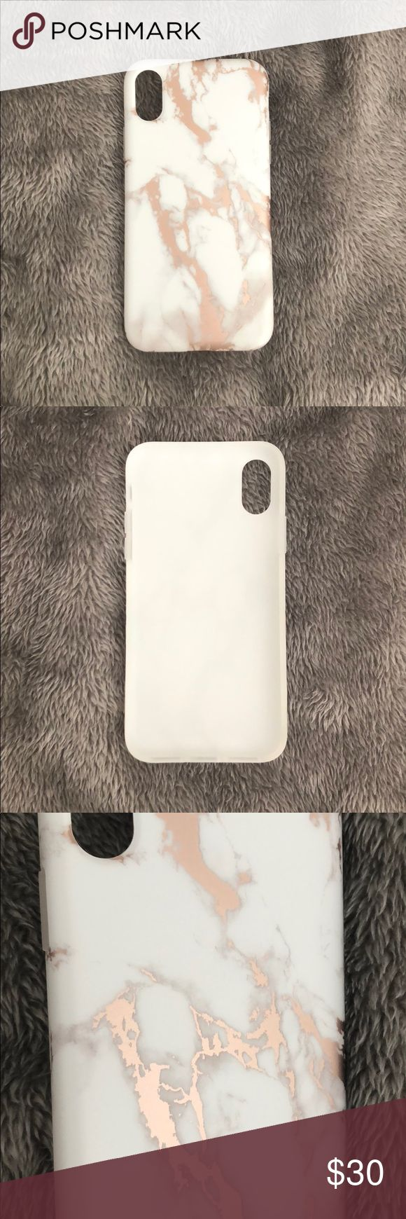 Brand New iPhone X case Brand New iPhone X case. White marble with rose gold. The rose gold has a chrome finish. The case is rubber with a rubber lip for extra screen protection. Accessories Phone Cases
