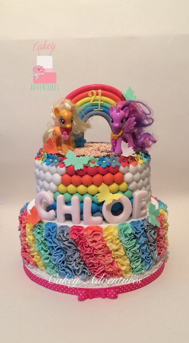 My little pony rainbow cake with rainbow ruffles.