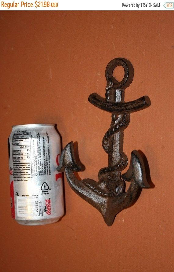 ON SALE 2) pcs, Anchor Wall Hook, Large Anchor, Wall Hook, Cast Iron, Anchor Decor,Nautical Decor,Nautical Bath Decor, Anchor hook, N-26 by wepeddlemetal. Explore more products on http://wepeddlemetal.etsy.com