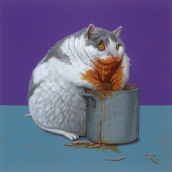 Obesikat / Obese cat 25 x 25 cm - acrylverf op papier / acrylic on paper - 2016 - € 750,-