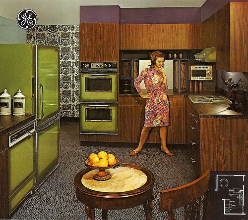 #1970s ~ Who can ever forget the Avocado green kitchens, as well as the harvest gold and coppertone, and the orange ones, and. . . .
