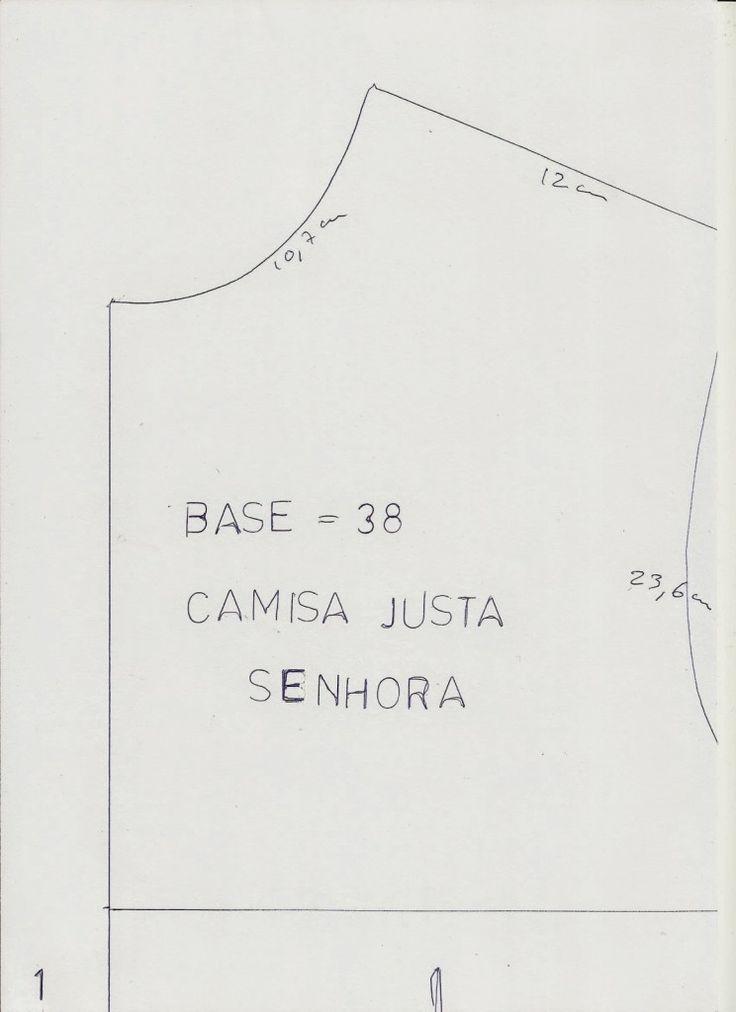 MOLDE BASE CAMISA JUSTA TAMANHO 38 - Moldes Moda por Medida