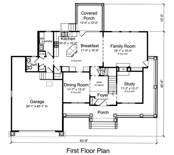 First floor plan of colonial country house plan 50177 for Colonial country house plans
