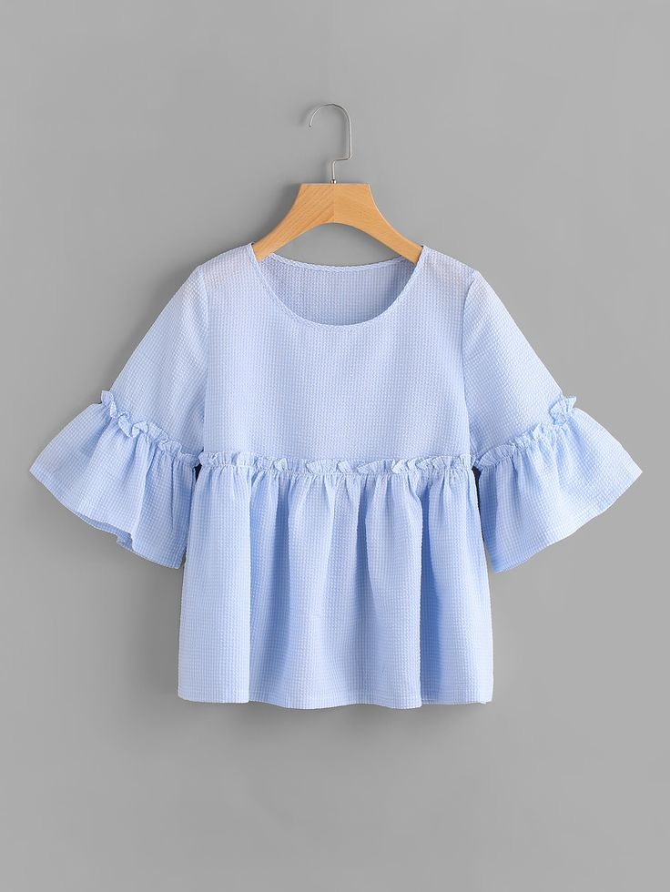 Shop Gingham Bell Sleeve Frill Trim Smock Blouse online. SheIn offers Gingham Bell Sleeve Frill Trim Smock Blouse & more to fit your fashionable needs.
