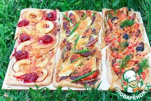 Пироги для пикника с разными начинками на домашнем слоёном тесте
