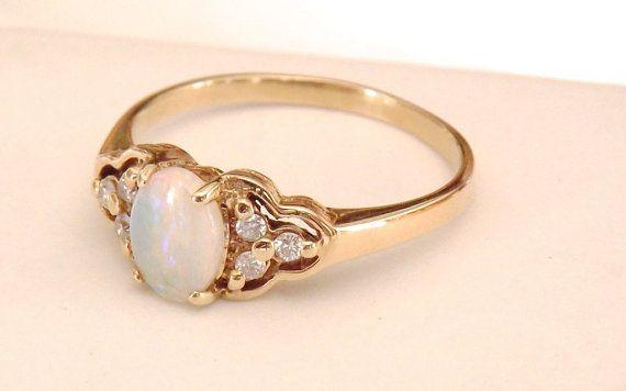 Vintage Opal Diamond 14K Ring by EclairJewelry on Etsy, $228.00