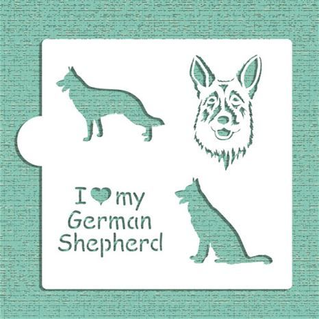 I Love My German Shepherd Cookie and Craft Stencil