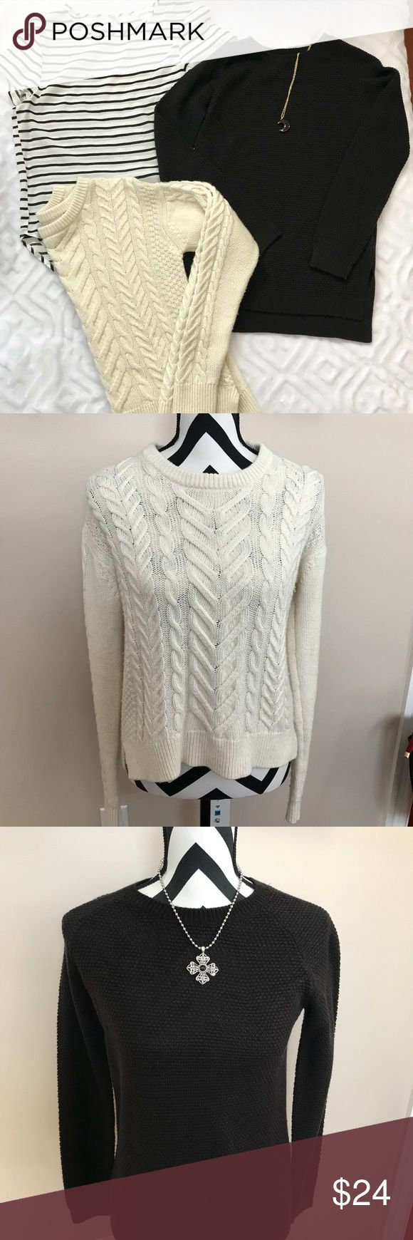 H&M bundle! 🌟🌟🌟 Darling ❤️🌟 H&M bundle 2-sweaters 1-striped Top! Great pre-owned condition!  Black Divided Brand from H&M sweater never worn. Cream cable knit.  Both sweaters have hi-lo style!  XS  Happy Poshing! 😊 H&M Sweaters Crew & Scoop Necks