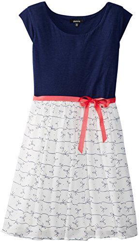 ZUNIE Girls 7-16 Cap Sleeve Knit To Chiffon Dress, Ivory/Navy, Large/14 ZUNIE http://www.amazon.com/dp/B00J9CRXGO/ref=cm_sw_r_pi_dp_Nv5Ttb014R2VNRDX