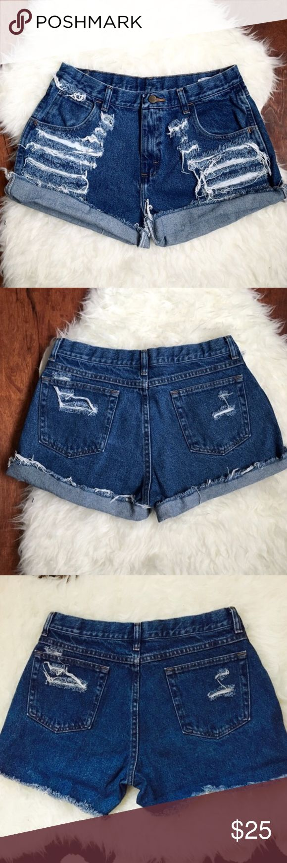 Denim Vintage Shorts with Holes Great condition! Super cute! Can be folded at the bottom! Shorts Jean Shorts