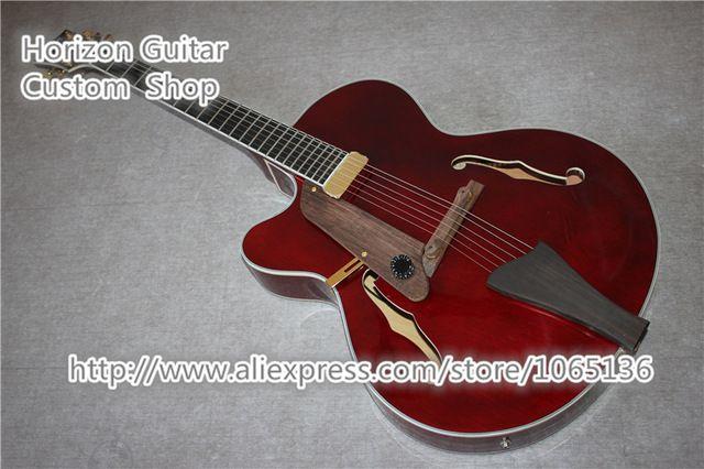 Venta superior G L5 Jazz Hueco Guitarra Eléctrica Zurdo Cuerpo Vino Rojo En Stock Para La Venta