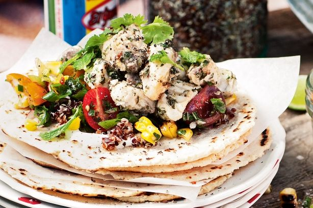 Katie Quinn Davies says that these fish tacos are a cinch to prepare, packed with flavour and pretty healthy too (as long as you go easy on the sour cream).