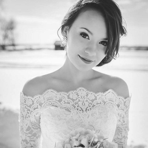 Plus Size Bridal Off-Shoulder / Lace wedding by UpToDateFashion