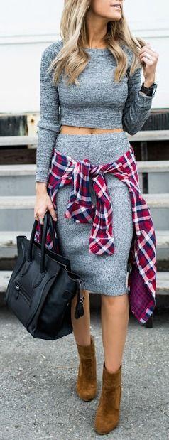 #fall #fashion / gray knit skirt + tartan shirt