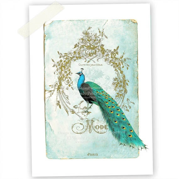 Peacock Mode French Vintage Shabby style Art Print  Ouvre tes yeux bleus. $20.00, via Etsy.