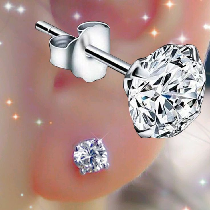 1 Pair Surgical Stainless Steel Stud Earring Clear Crystal Tragus Earrings Cubic Zirconia Love Helix Body Piercing Jewelry Women