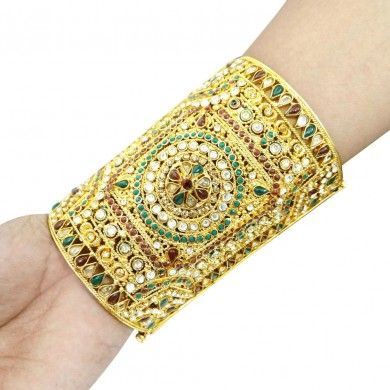 Jodha Akbar Style Gold Tone Kundan Polki CZ Cuff Bracelet Indian Jewelry 2*6