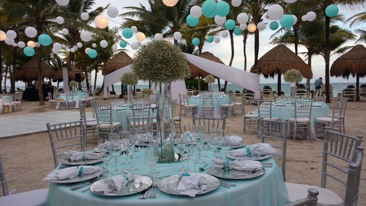 #Beachweddings, aqua Wedding table set up.  #Fourniture #Rental #Decor and more.