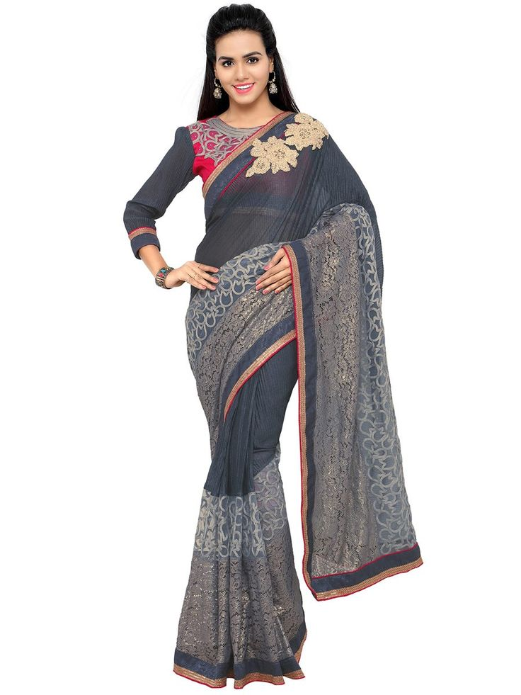 Buy Designer Sarees Grey Colour Fancy Silk Party Wear Embroidery Work Saree Designer sarees collection | Sarees Online | Buy Designer Sarees Online at Best Price