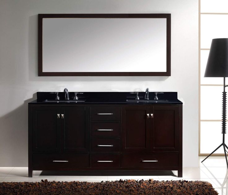 72 inch Caroline Avenue Double Bathroom Vanity with Black Galaxy Granite Top and Square Sink with Mirror The Caroline Avenue series is designed with a bold clean style and built with strong, top notch materials including designer brushed nickel hardware. It offers an abundance of storage space and state of the art technology with its soft closing doors and drawers. Featuring a high quality solid oak wood with a classic, zero-emissions, espresso finish that will last for years to come. With…