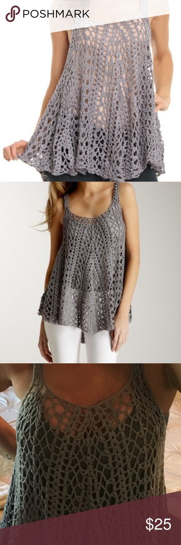 Mystree crochet cami Mystree dark gray crochet cami Mystree Tops Camisoles