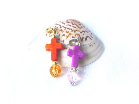 Anhänger Kreuz orange oder lila Ketten Anhänger gold von LonasART