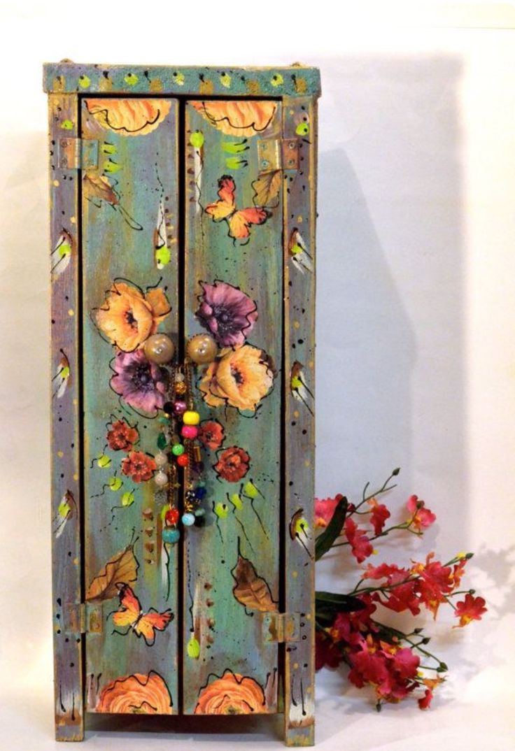 Vintage flowers flower floral cupboard storage country shabby chic