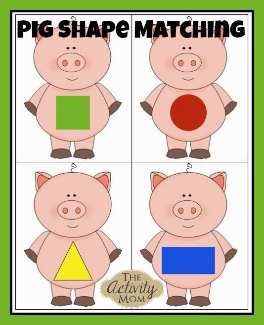 Pig Shape Matching (FREE printable) - add cards with pictures of objects in the environment and maybe word cards for the shapes for sorting in Kinder classroom