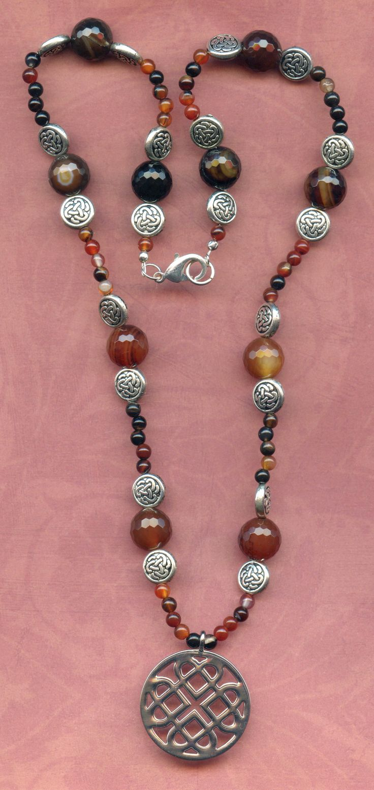 Celtic knot and agate necklace